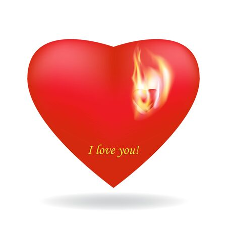Two beautiful scarlet 3D hearts. A small heart burns with the flame of love. Vector, isolated white background, shadow. Symbol of love and happiness. Valentine's day design element, wedding invitation