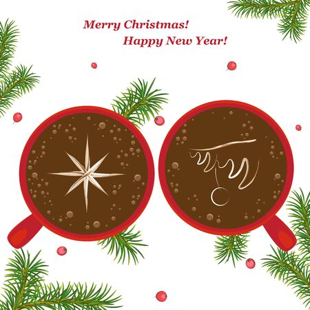 Christmas, new year card. Two red cups with a picture of a Christmas tree on the coffee and a snowflake, art latte. Christmas composition with fir branches and Holly berries. Isolated. white backgroun