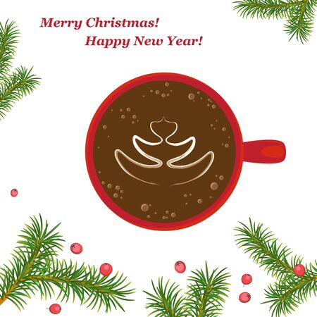 Christmas, new year card. Red Cup with Christmas tree pattern on coffee, latte art. Christmas composition with fir branches and Holly berries. Isolated. White background