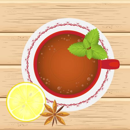Cup of black tea with  slice of lemon and mint standing on a saucer, on the wooden table. Herbal tea, hot healthy drink. Vector illustration. The view from the top.