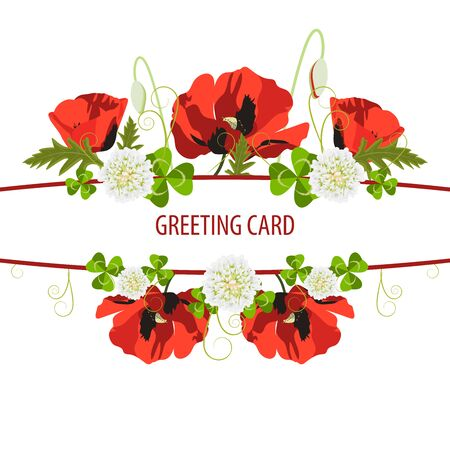 Floral design greeting card template,invitation.Vector illustration for postcard or poster,print. Red poppy, small white blooming clover flowers green poppy leaves.White and red ribbon,space for text. Ilustração