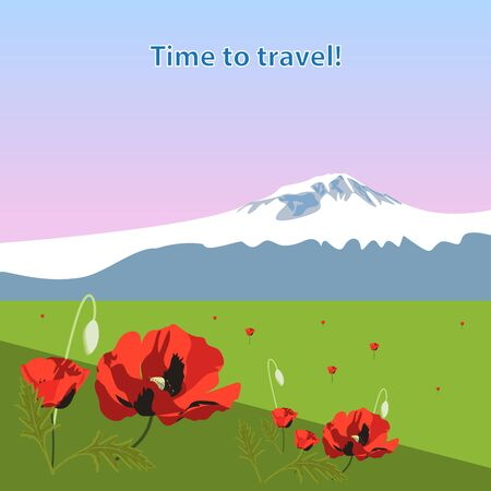 Landscape view of the mountain hill, field, meadow with beautiful flowers poppy. Dawn time. Time to travel concept. Background for posters, banners, leaflets and covers design
