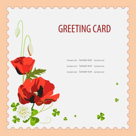 Floral design greeting card template, invitation. Vector illustration for postcard or poster, print. Red poppy, small white blooming clover flowers green poppy leaves.Isolated, space for text