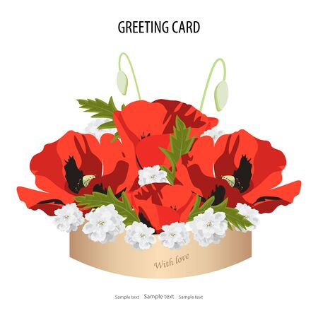 Round box with a bouquet of delicate red poppy and small white flowers.Spring and flowers.Greeting card template, invitation.Vector illustration for postcard or poster, print.White background Isolated Ilustração