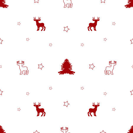 Seamless pattern for Christmas with the image of fir, stars and forest animals, deer. Isolated, white background with red elements Christmas. Textile design, packaging, wallpaper. Vector illustration