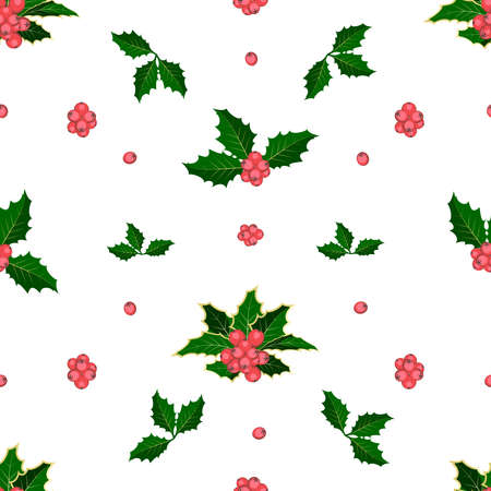 Winter seamless vector pattern with holly berries. Christmas background. Can be used for wallpaper, pattern fills, surface textures, fabric prints. Vector, Isolated, white background