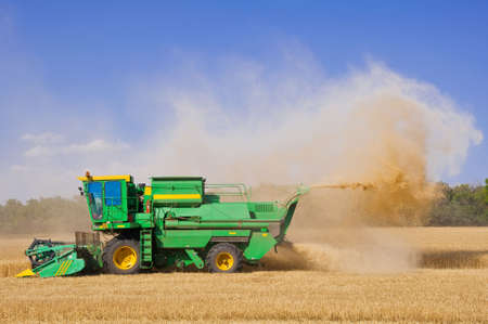 Combine during work on a wheaten field. Harvesting. Stock Photo