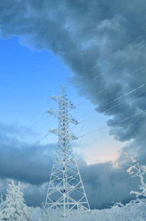 bogs: High voltage tower on a background of the winter sky Stock Photo