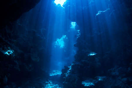 underwater landscape. cave in the coral reef lit sun rays.