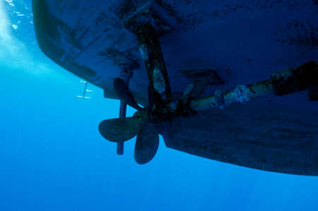 propeller ship dangerous for divers, underwater view Stock Photo