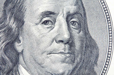 benjamin franklin: Close-up of Benjamin Franklin on the 100 dollar bill. Stock Photo