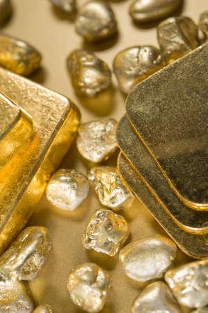 ingots: fine gold ingots and nuggets.