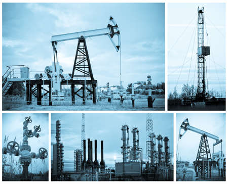 petroleum: Oil, gas industry. Collage. Monochrome.