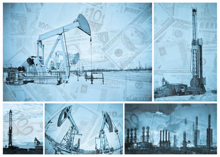 Oil, gas industry and money.  Industrial and financial background. Collage. Monochrome. Stock Photo