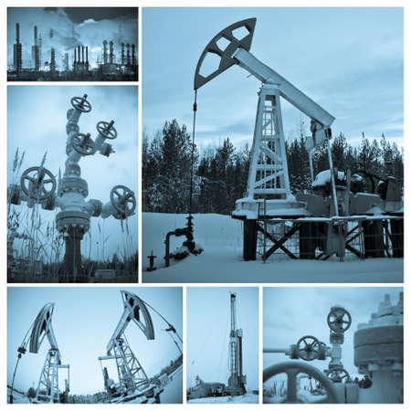 yacimiento petrolero: Industria del petróleo y gas. Collage, azul blanco y negro, tonos.