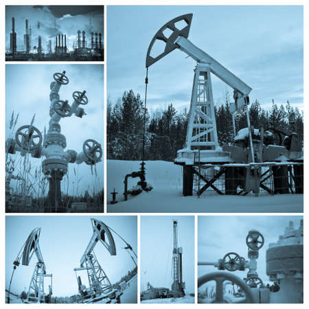 oilfield: Oil and gas industry. Collage, monochrome, toned blue.