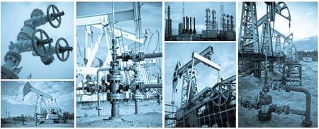 yacimiento petrolero: Industria de petr�leo y gas. Extracci�n de petr�leo. Monocromo, tonificada azul.
