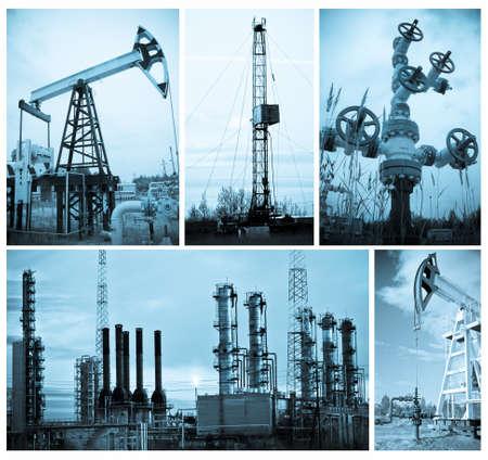 torres petroleras: Industria del petróleo y gas. Collage, azul blanco y negro, tonos.