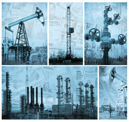 drilling: Oil, gas industry and money.  Industrial and financial background. Collage. Monochrome. Stock Photo