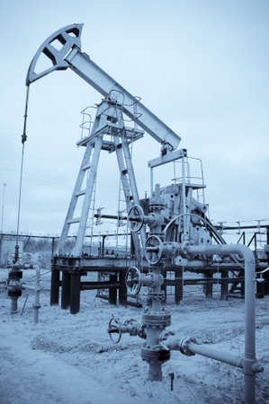 Oil and gas industry. Pump jack. Monochrome. Stock Photo - 18410761