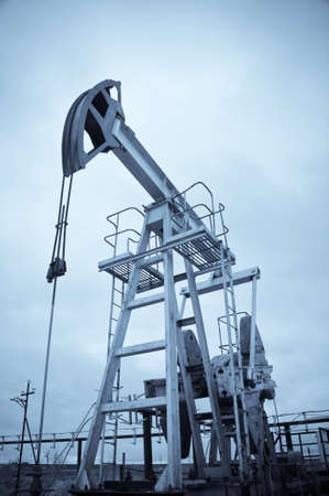 jack pump: Oil and gas industry. Pump jack. Monochrome. Stock Photo