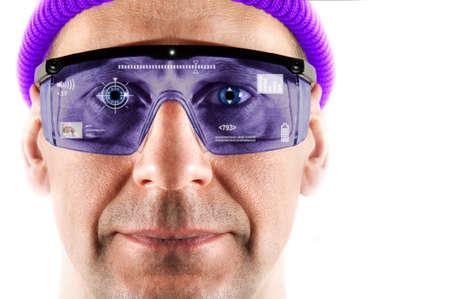 Portrait of men in smart glasses  White background