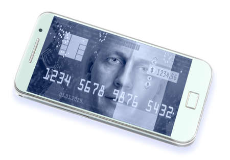e banking: Smartphone with view elements of e-commerce and security on a screen