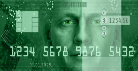 passcode: Conceptual composition depicting online electronic commerce and digital technology  Included are currency symbols, electronic chip, man portrait  Toned green