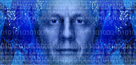 Man portrait on background of electronic circuit board and binary code  Toned blue  photo