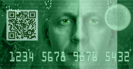 passcode: Conceptual composition depicting online electronic commerce and digital technology  Included are QR code, fingerprint scanner, man portrait