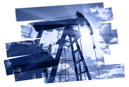 Oil pump abstract composition background. Oil and gas industry. Photo collage toned blue. Isolate on a white. photo