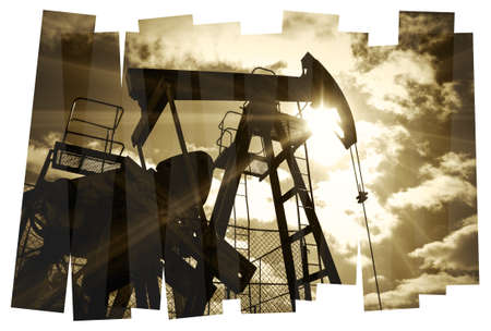 Oil industry abstract composition background. Oil and gas industry. Photo collage toned sepia. Isolate on a white. photo