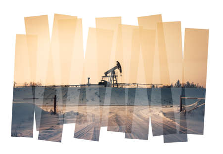 Oil industry abstract composition background. Oil and gas industry. Photo collage toned. Isolate on a white. photo