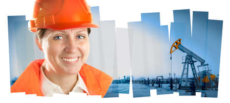 Female oil worker in orange uniform and helmet on of collage background the pump jack.