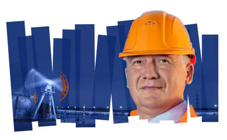 Oil worker in orange uniform and helmet on of collage background the pump jack. photo