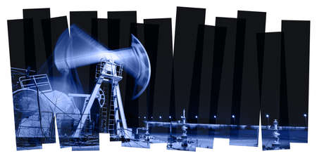 oilwell: Oil and gas industry abstract composition background. Panoramic of a pumpjack. Night view.