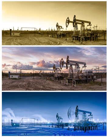 refiner�a de petr�leo: industria del gas y el petr�leo. Tres panoramas de una refiner�a de petr�leo y conectores de la bomba.