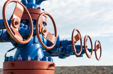 oil industry: Production wellhead with valve armature. Oil, gas industry.