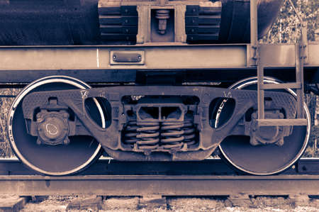 railway transportation: Pair of train wheels. Closeup shot. Railway transportation concept.