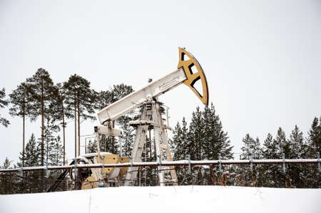 Horizontal view of a pump jack in the oilfield situated in the beautiful winter forest. Environmental pollution. Oil and gas concept.