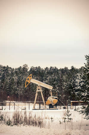 Pump jack in the oilfield situated in the beautiful winter forest. Environmental pollution. Oil and gas concept.