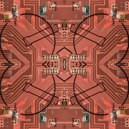 Abstract pattern with circuit board electronic elements. Standard-Bild - 116245328