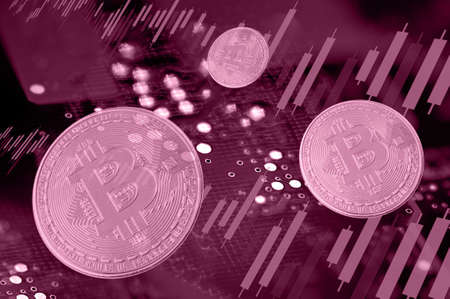 Economy trends virtual digital currency abstract background. Imagens