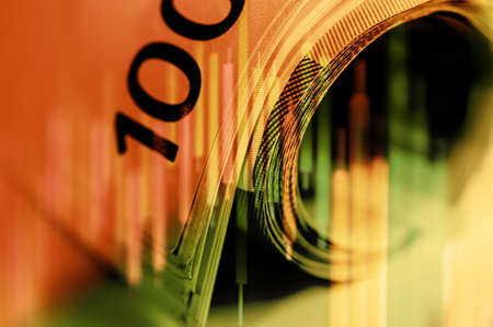 Double exposure Stock market display or forex trading graph and candlestick chart on Euro banknote.