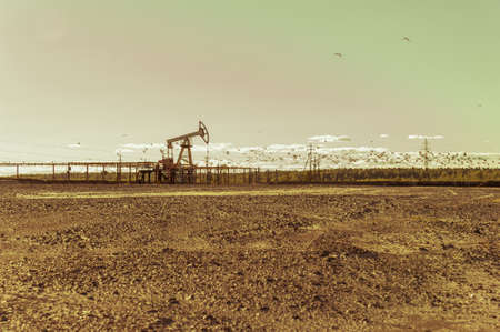 Oil pumps in the oil field. Summer hot sunny day. Seagulls soaring in the sky. Minimalistic industrial landscape.
