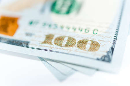 Close-up view of cash money american dollars. Finance and business concept.Shallow depth of field.