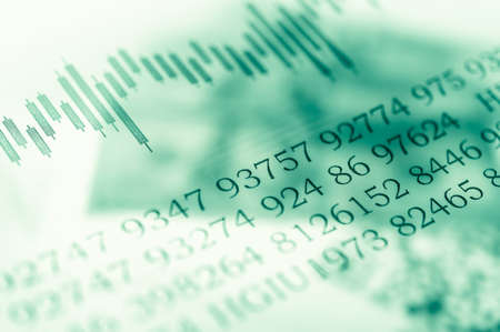 Double exposure Stock market display or forex trading graph and candlestick chart on dollar banknote