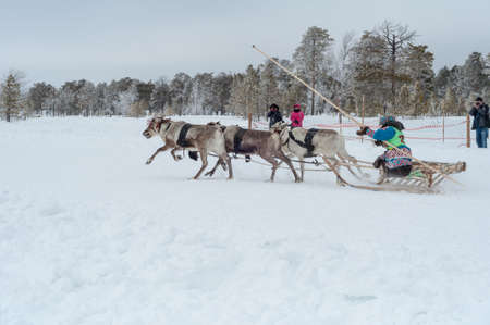 Russkinskie, Surgut, KhMAO-Ugra, Siberia, Russia, 2019.03.23. National holiday of reindeer herders, hunters, fishermen. Editorial