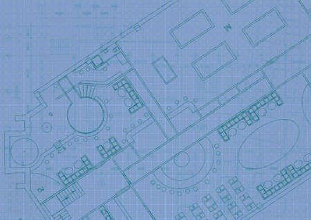 Architektonischer Hintergrund mit technischen Zeichnungen. Blaupausen planen Textur. Zeichnungsteil des Architekturprojekts.