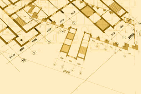 Architectural background with technical drawings. Blueprints plan texture. Drawing part of architectural project. Stock Photo
